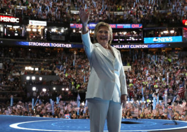 PHILADELPHIA, PA - JULY 28:  Democratic presidential nominee Hillary Clinton waves to the crowd on the fourth day of the Democratic National Convention at the Wells Fargo Center, July 28, 2016 in Philadelphia, Pennsylvania. Democratic presidential candidate Hillary Clinton received the number of votes needed to secure the party's nomination. An estimated 50,000 people are expected in Philadelphia, including hundreds of protesters and members of the media. The four-day Democratic National Convention kicked off July 25.  (Photo by Justin Sullivan/Getty Images)